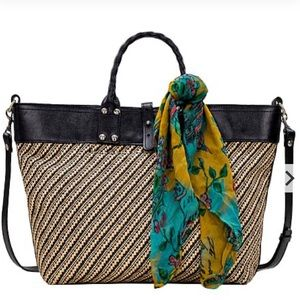 PATRICIA NASH Emilion Woven Tote with Scarf NWT